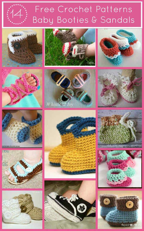Free Crochet Patterns, Baby Booties & Sandals, Fiberartsy.com