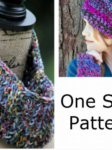 15 One Skein Patterns for Knitting or Crochet by FiberArtsy.com. A fun roundup of Knitting and Crochet patterns that use only one skein of yarn. Quick and easy patterns for hats, gloves, scarves and a basket