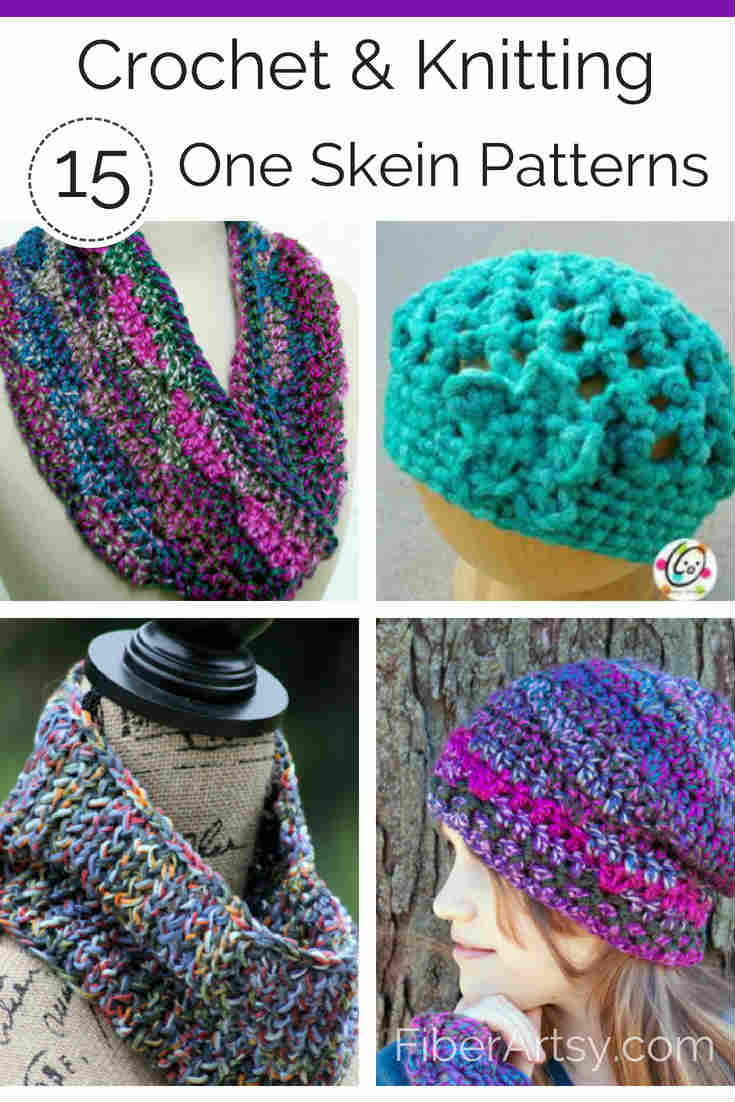 Lots of fun free knitting and crochet patterns using  One Skein of Yarn. This listing includes patterns for Knit or Crochet hats, gloves, scarves and a basket. By FiberArtsy.com