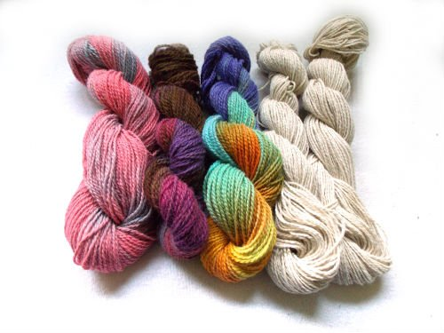 Skeins of wool yarn to make felt homemade dryer balls