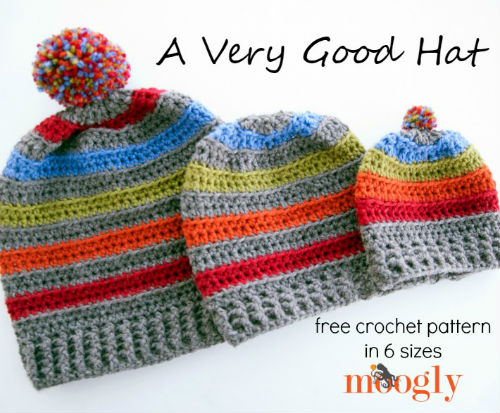 Striped Easy Crochet Hat by Moobly