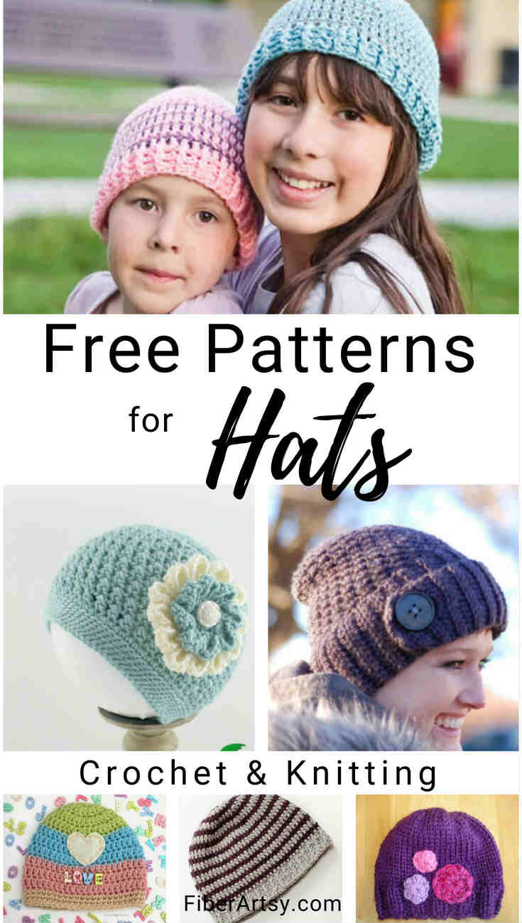 16 Free Hat Patterns for Crochet and Knitting. Fun, free hat patterns for children or adults
