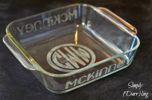 DIY Gift Etched Pyrex Baking Dish
