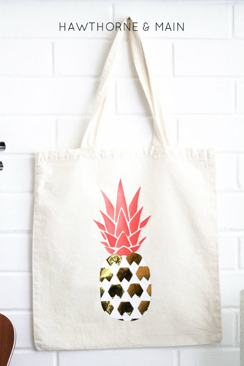 Pineapple Vinyl Transfer Printed Tote Bag