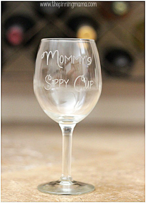 Etched Wine Glass DIY Gift Idea