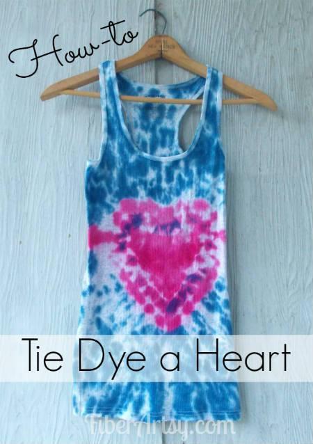 how to tie dye a heart - fiberartsy.com