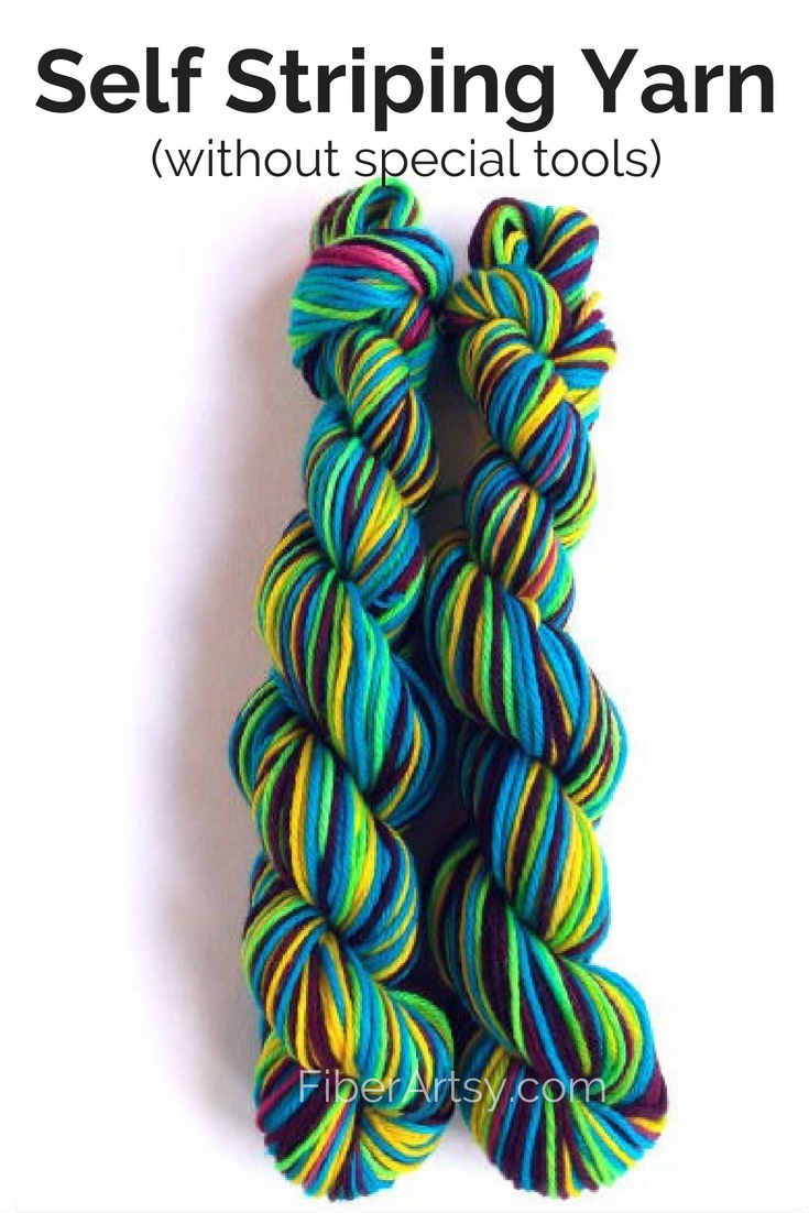How to Dye Self Striping Yarn without special tools. Learn how to dye your own self striping yarn with this easy yarn dyeing tutorial.