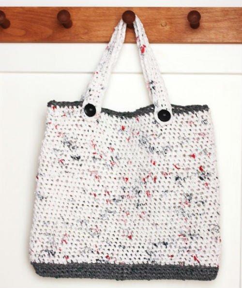Plarn or Plastic Yarn Crocheted Tote Bag