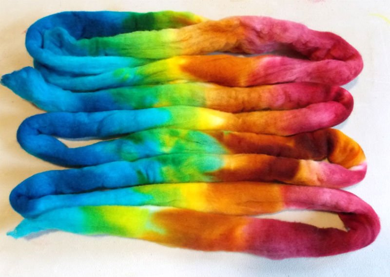 Kettle Dye Yarn or Wool Roving