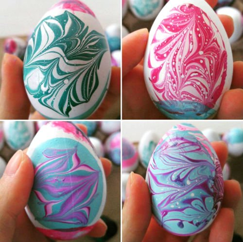 Water Marble Easter Eggs
