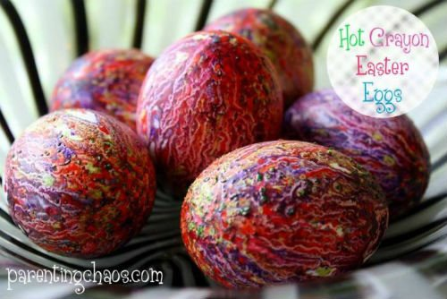 Colorful Easter Eggs painted with hot crayons