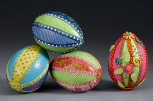 Decorate Easter Eggs with Paper and Ribbon