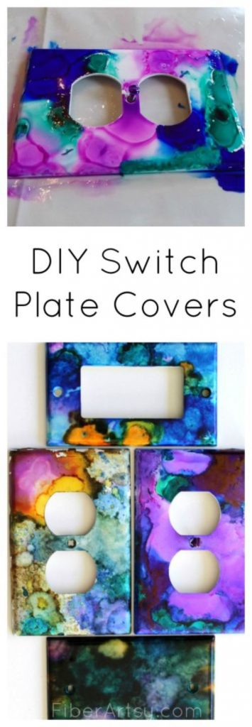 Switch Plates and Outlet Covers painted with Alcohol Inks