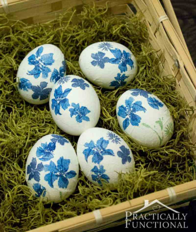 Easter Egg Decorating Idea with Napkins