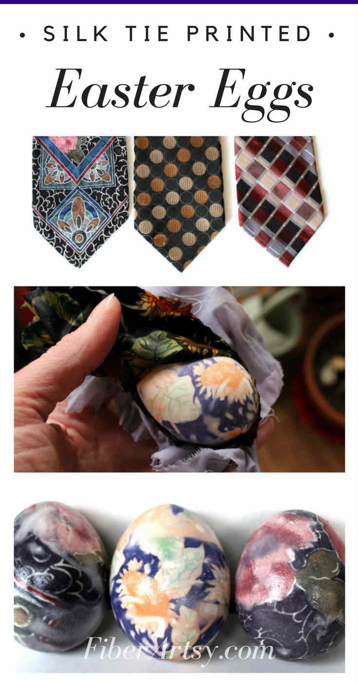 Super fun and easy way to decorate your Easter Eggs by printing them with Silk Ties.  How to Dye or Print Easter Eggs with Silk Ties, a FiberArtsy.com  tutorial