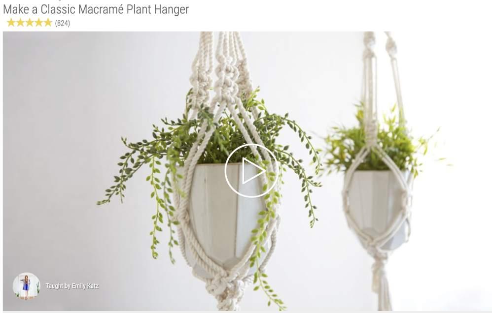 Online Class for making a houseplant hanger