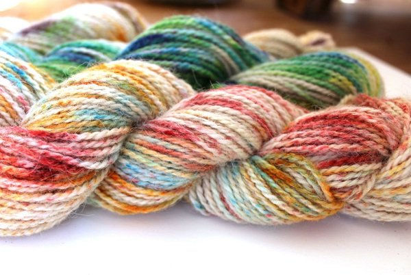 Hand dyed yarn with speckles or sprinkles