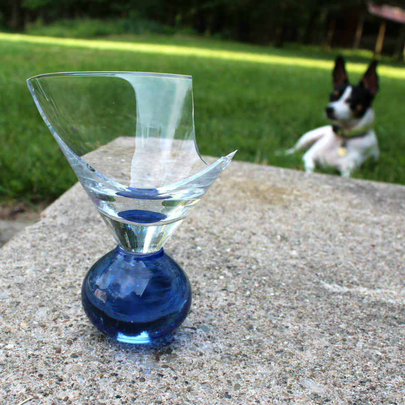 Broken Blue Wine Glass