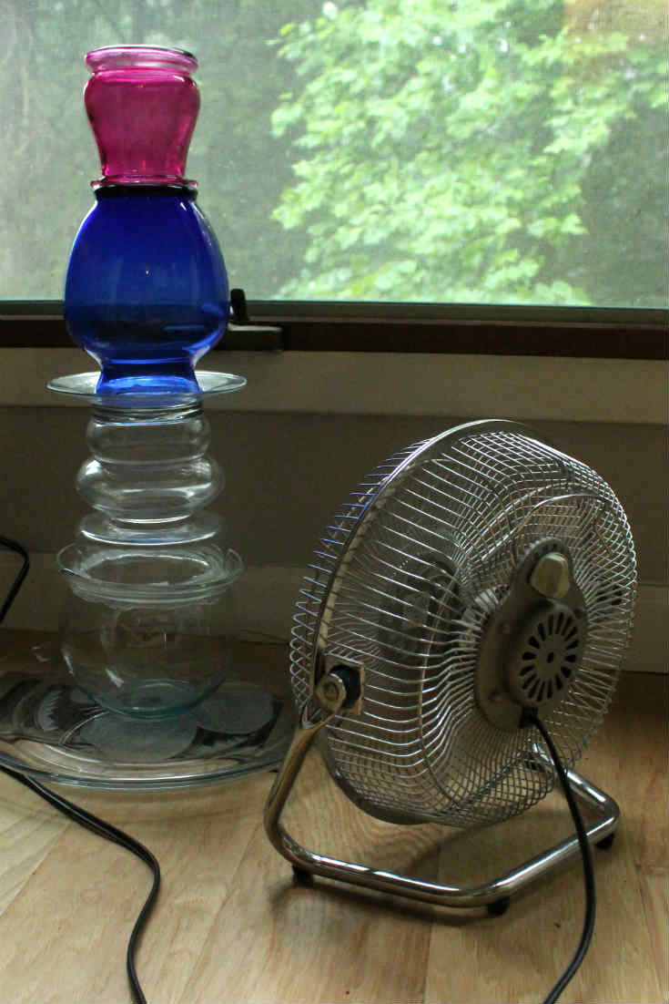 Drying the silicone with an electric fan