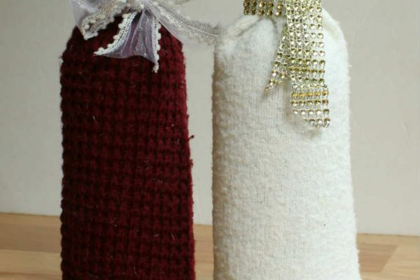 Easy DIY Wine Gift Bag from an Old Sweater