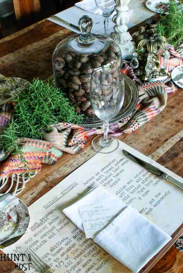 Thanksgiving Placemats made from Family Heirloom Recipes