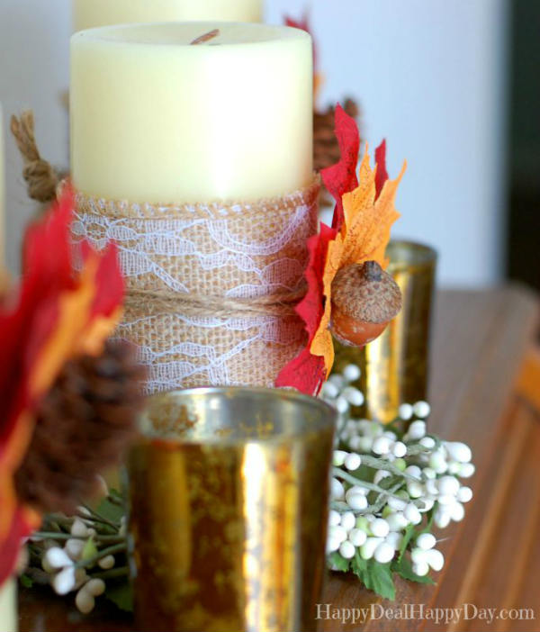 Fall Candle with Burlap Thanksgiving Table Decorating Idea