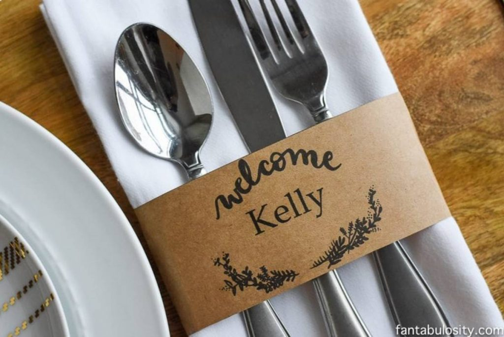 DIY dinner table place cards