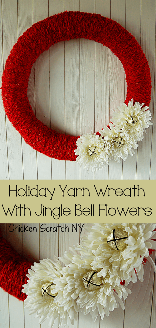 Yarn Wreath with Jingle Bells