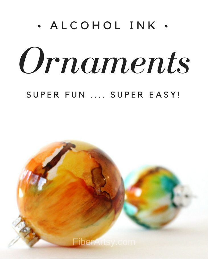 DIY Ornament Ideas - Christmas Ornaments painted with Alcohol Inks