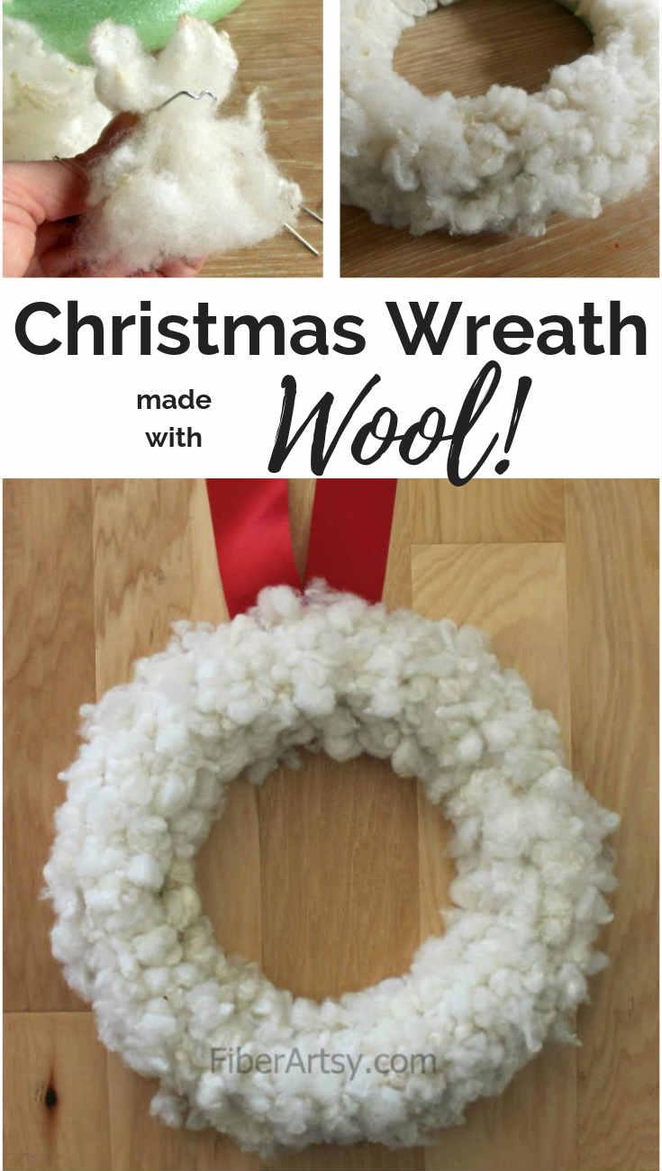 DIY Christmas Wreath How to make a White Christmas Wreath with Sheep Wool