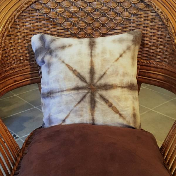 Shibori Dyed Pillow Cover naturally dyed with acorns