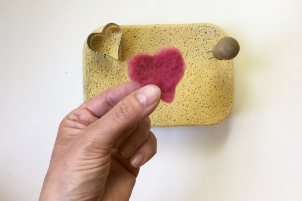 Needle Felted Heart Shape