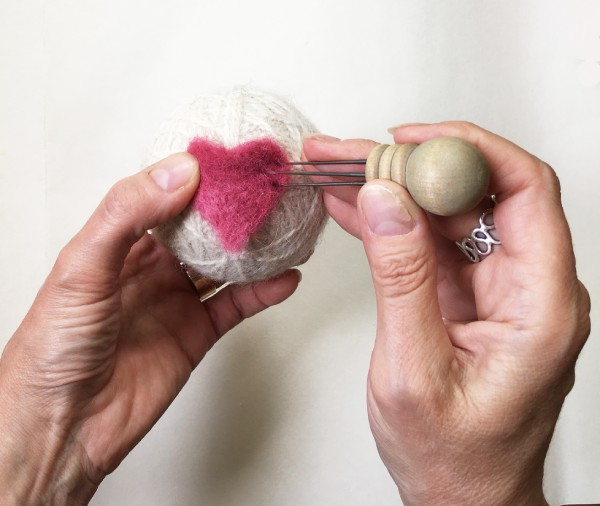 Needle Felting on a Wool Dryer Ball