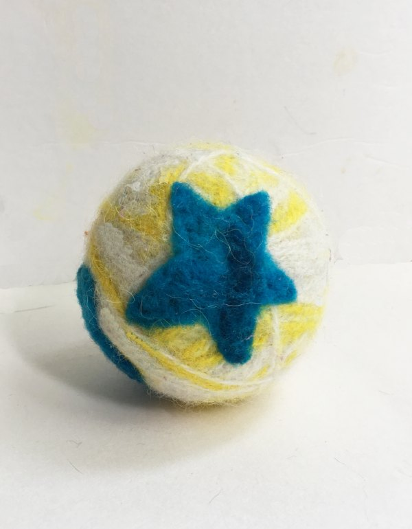 Felted Dryer Ball with a Star Shape