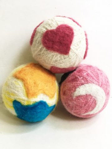 Needle Felted DIY Wool Dryer Balls