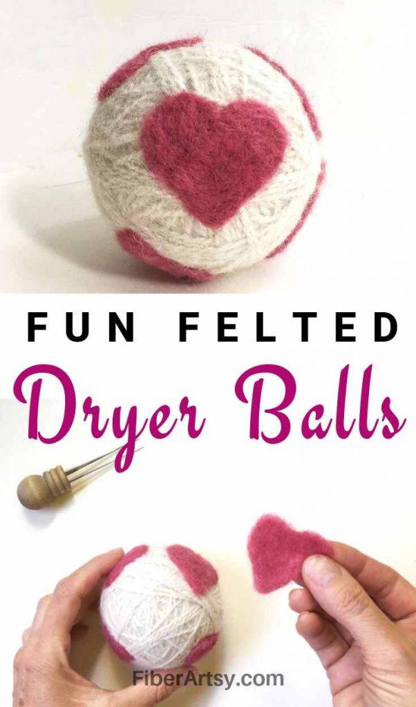 Wool Dryer Balls with Needle Felted Designs