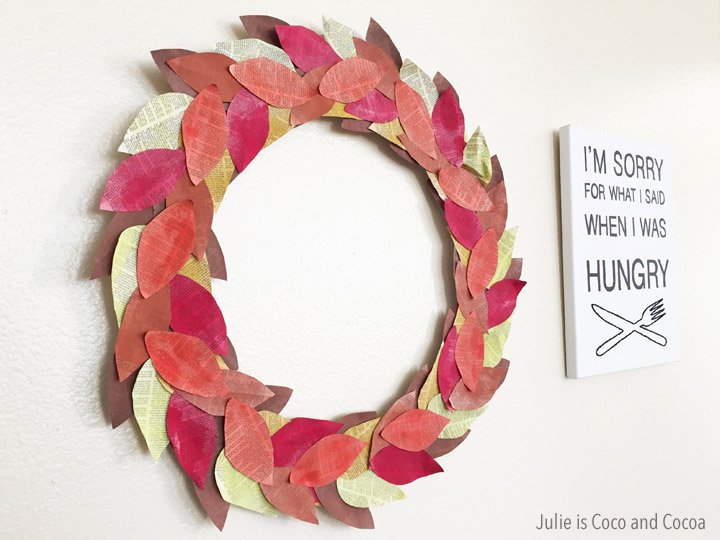 DIY Fall Wreath made with Book Pages
