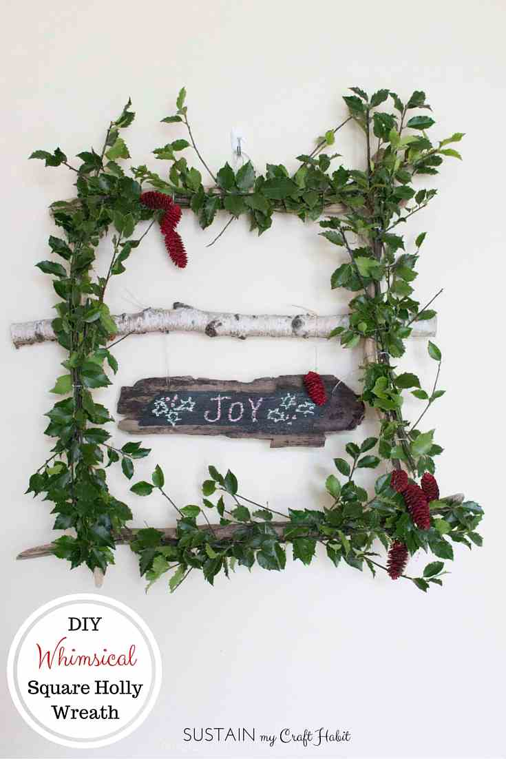 Cheery Square Holly Christmas Wreath