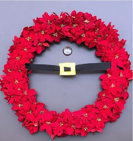Santa's Belt Christmas Wreath with Poinsettia