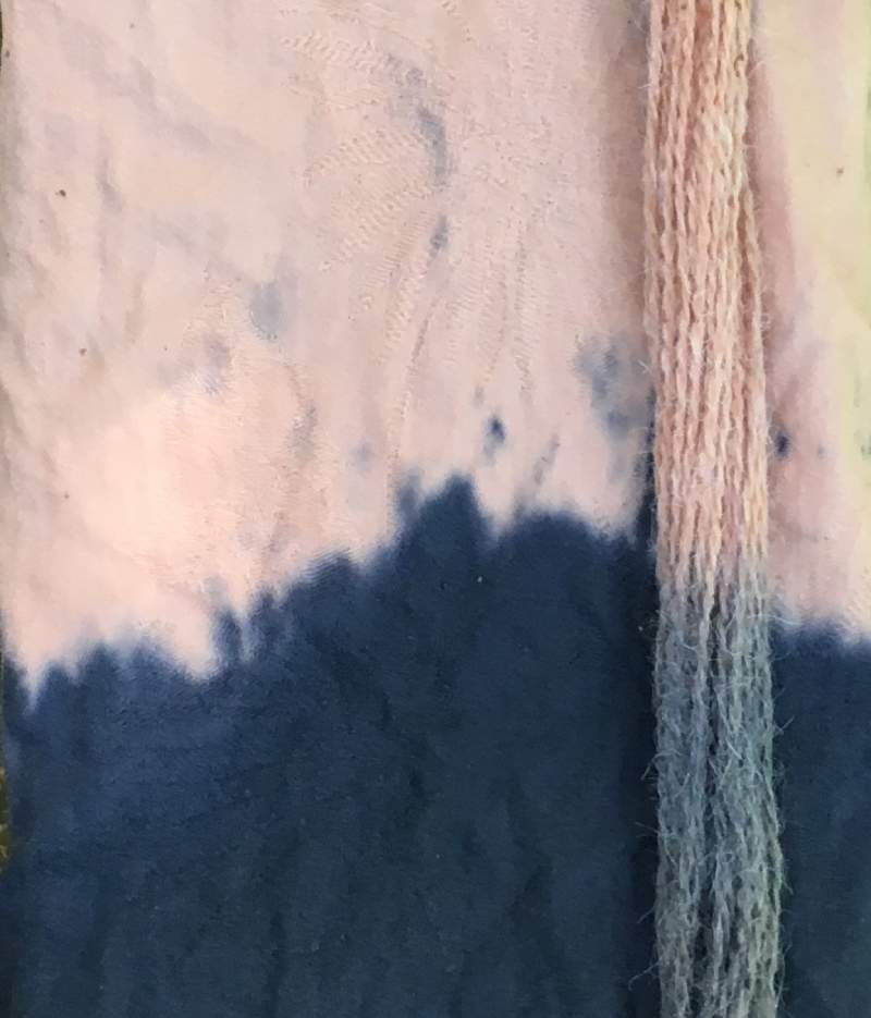 Cotton fabric and wool yarn dyed naturally with Avocados and an Iron Modifier