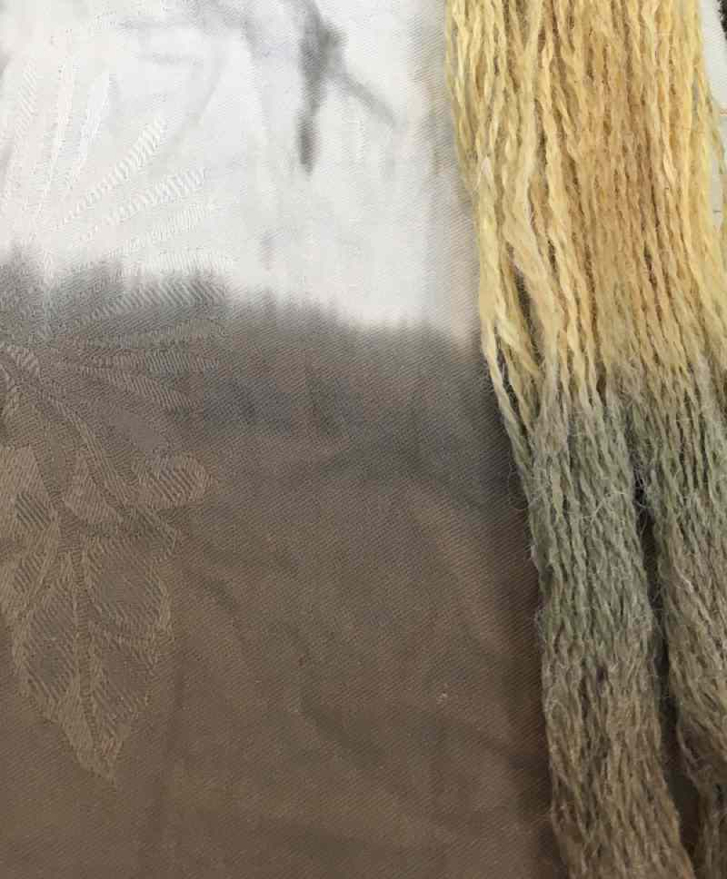 Cotton fabric and wool yarn dyed naturally with Queen Ann's Lace flowers and an Iron Modifier