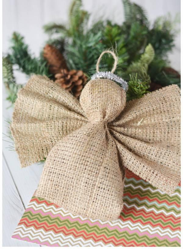 Burlap Angel Christmas Ornament