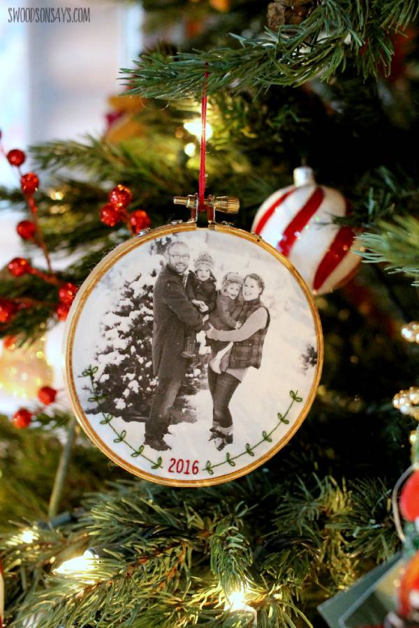 Embroidered Family Photo Ornament