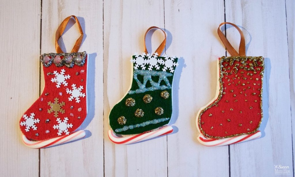 Candy Cane Ice Skate Ornaments