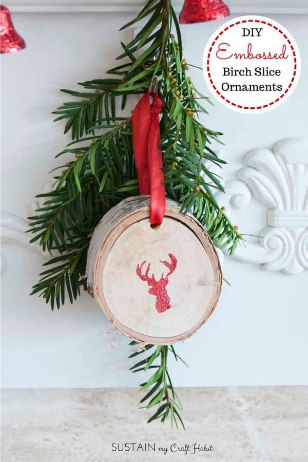 Glitter embossed wood slice ornaments