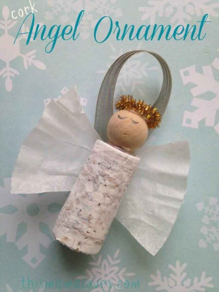 Wine Cork Angel Ornament - Unique handmade Christmas Ornaments