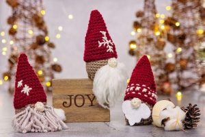 Crochet Gnome Santa Gift Ornament