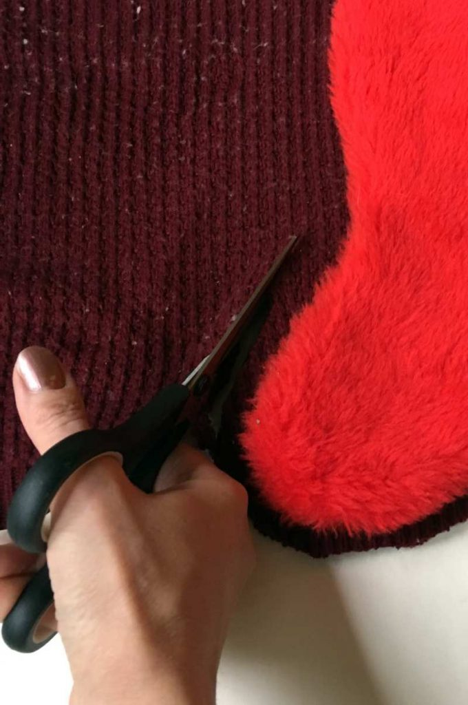 Cut the body of the Christmas Stocking (1)
