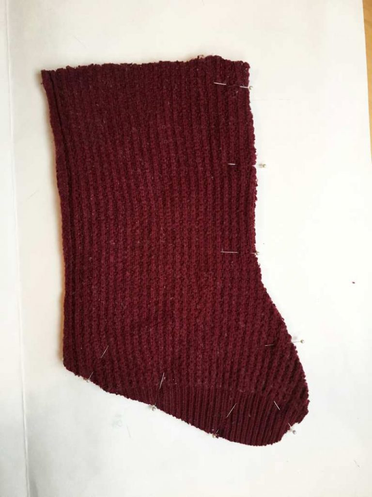 Making a Sweater Stocking for Christmas - Pinning the Stocking pieces together