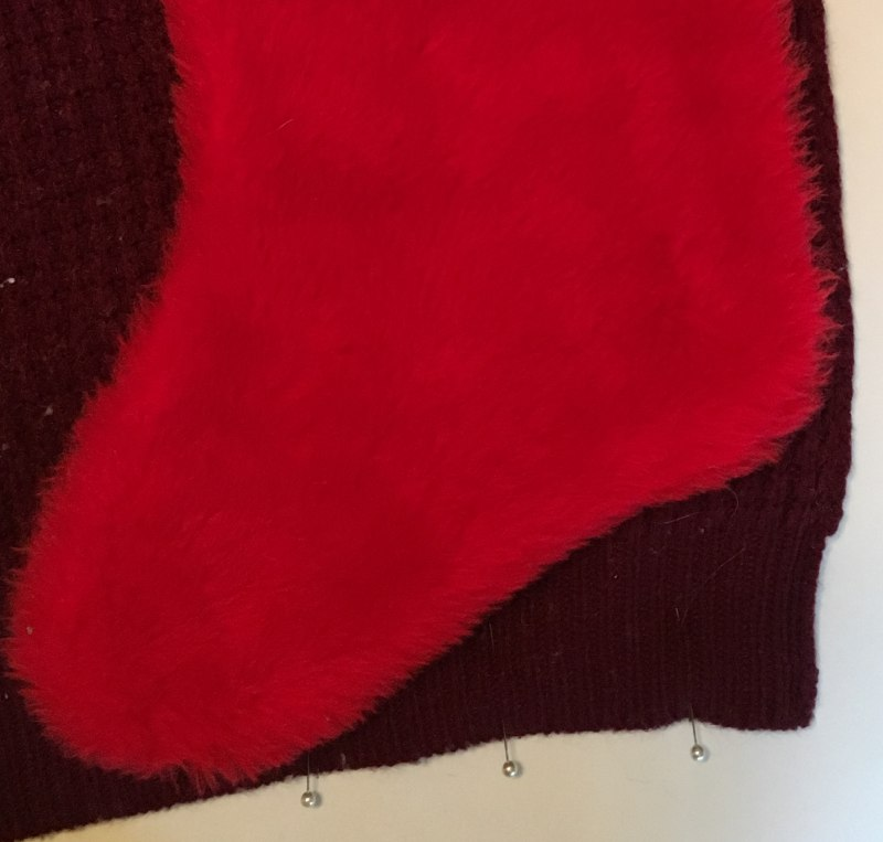 Placement of Christmas Stocking on the Sweater